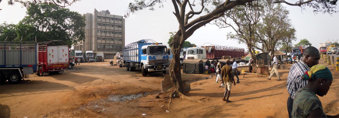 Informal parking lot for trucks carrying goods to and from Tema harbor