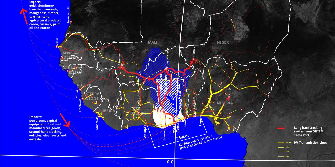 Map of West African electricity grid, Volta river watershed and shipping network via Tema harbor