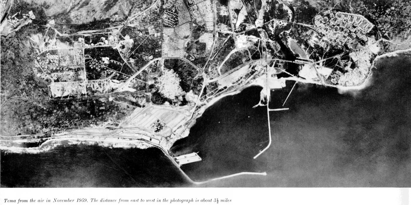 Aerial view of Tema under construction, November 1959. Distance left-to-right is 3.5 miles.