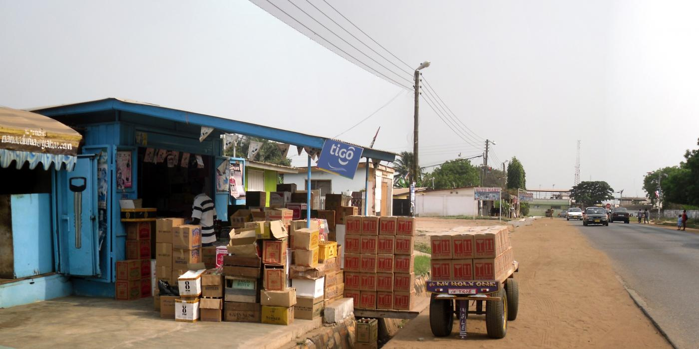 Small shops and workshops occupy the edges of roads, not only in Tema but throughout Ghana