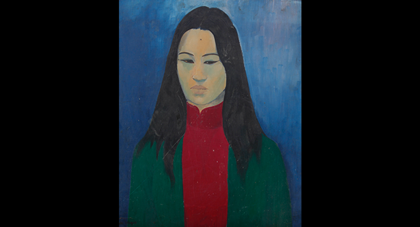 Girl from Chinatown, San Francisco (Oil on Maronite), Ato Delaquis, 1974