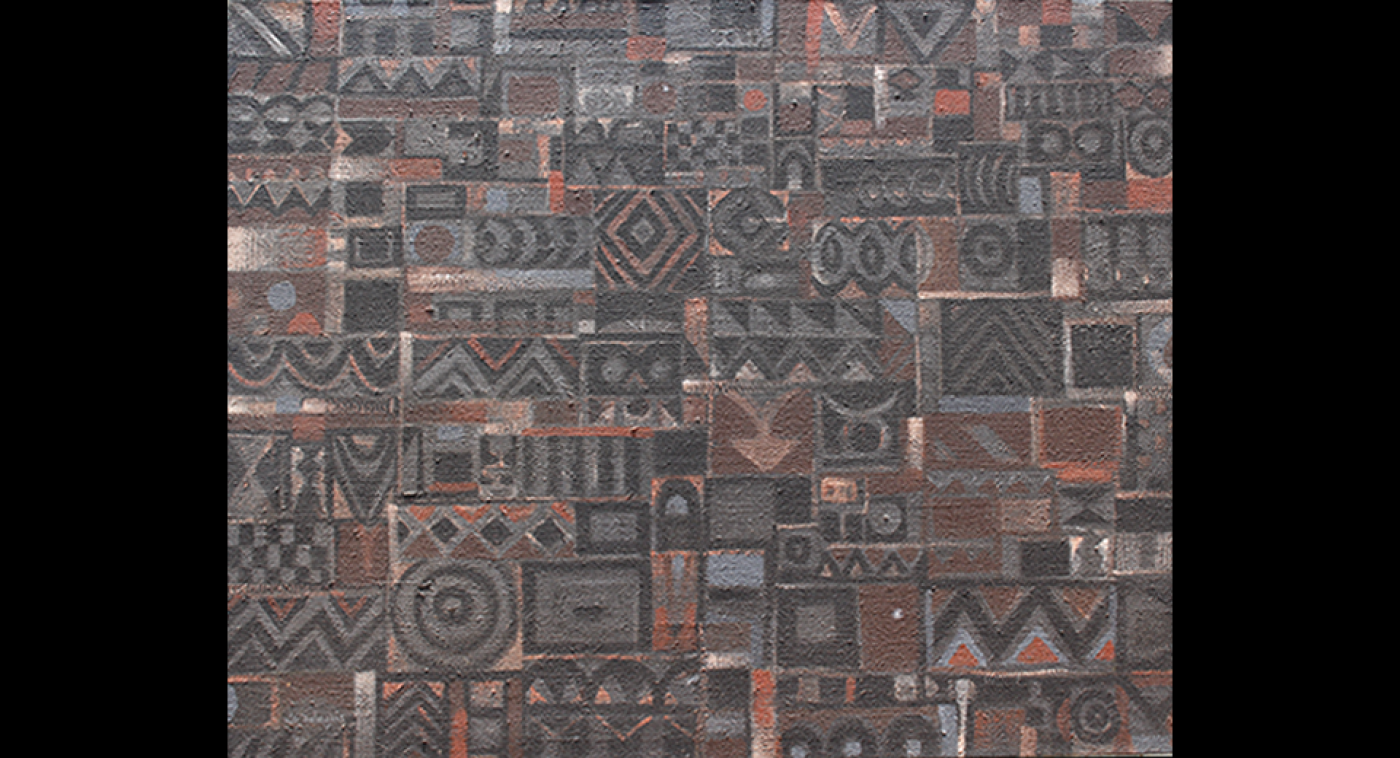 Grey Wall Painting (Acrylic on Jute Sacking), Ato Delaquis, 1985, Retouched 2005