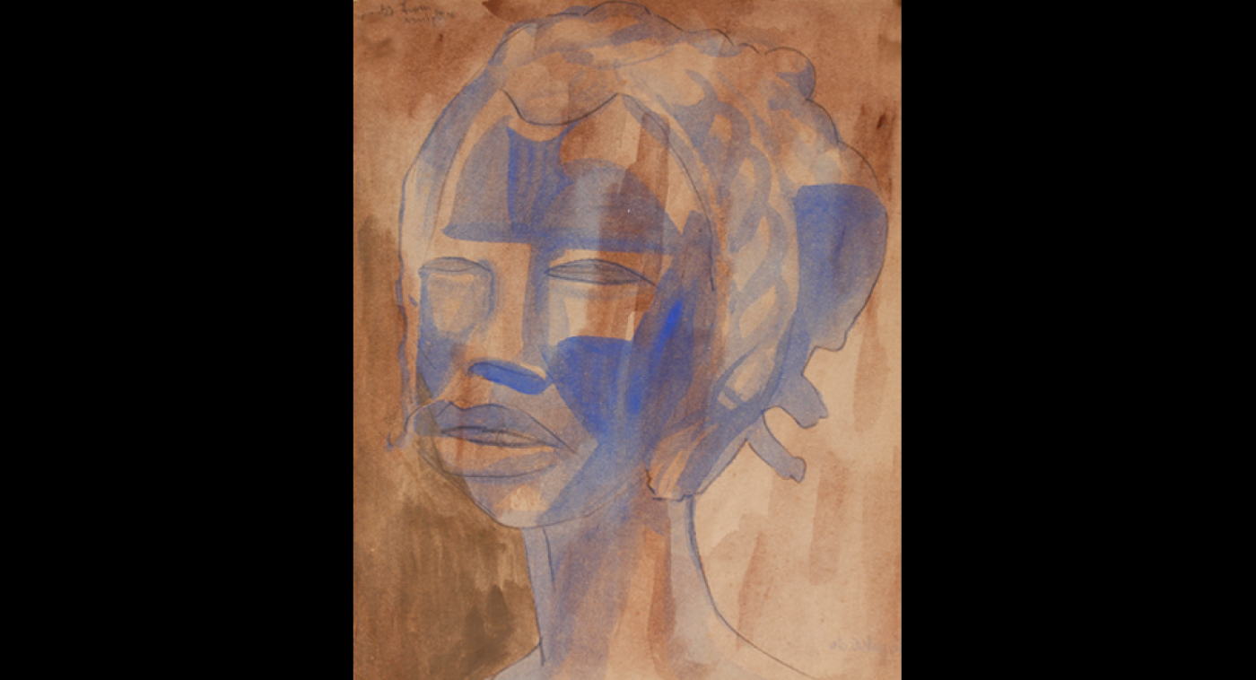 Mask Girl (Graphite & Wash), Ato Delaquis, Undated, Circa 1971
