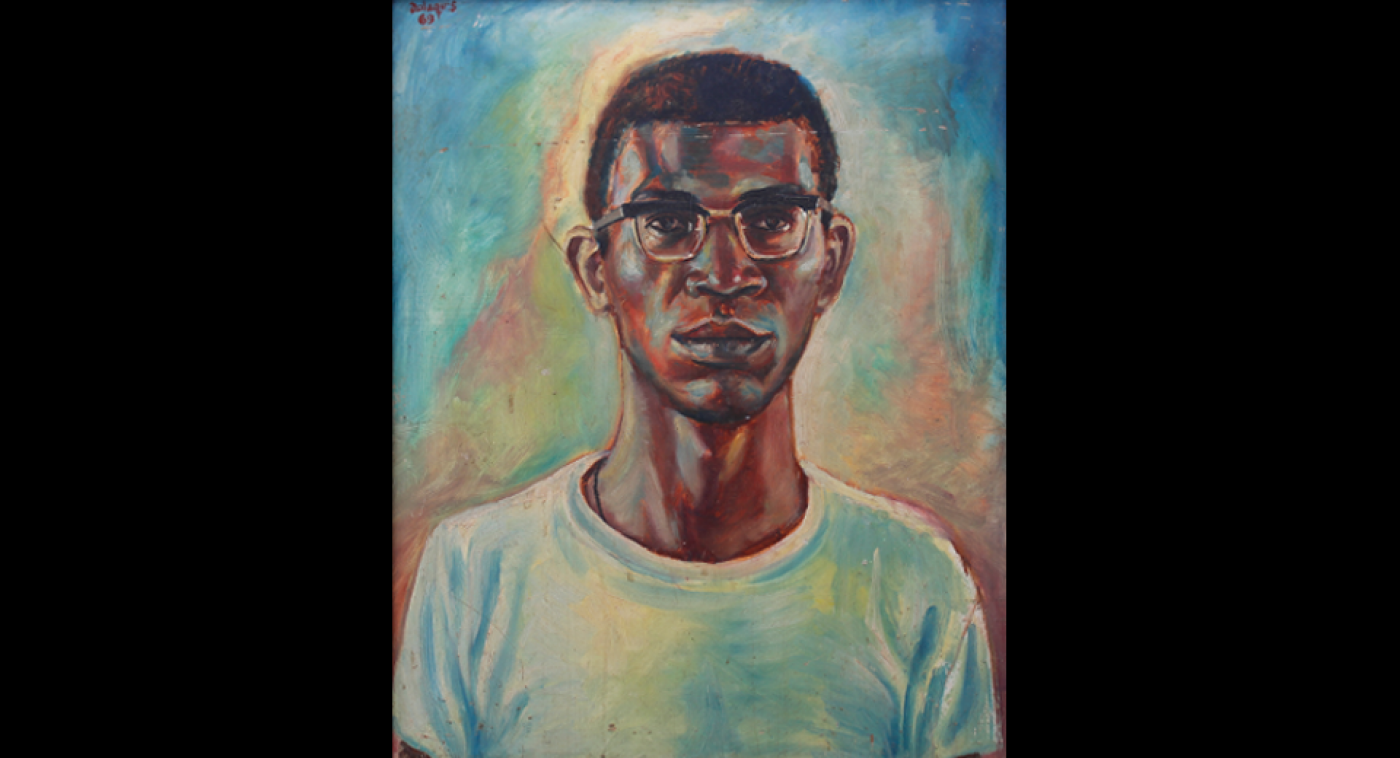 Self Portrait (Oil on Maronite), Ato Delaquis, 1969