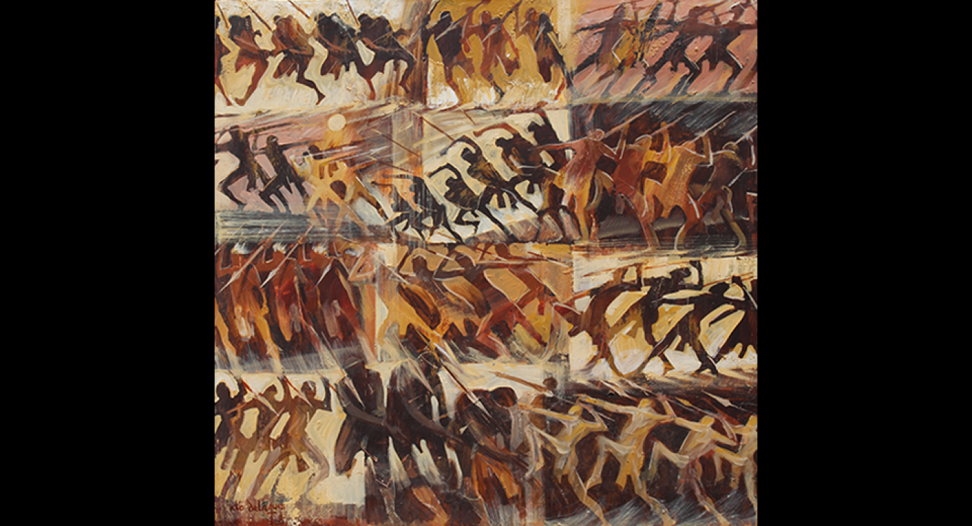 Spear Throwers (Acrylic on Canvas), Ato Delaquis, 2012