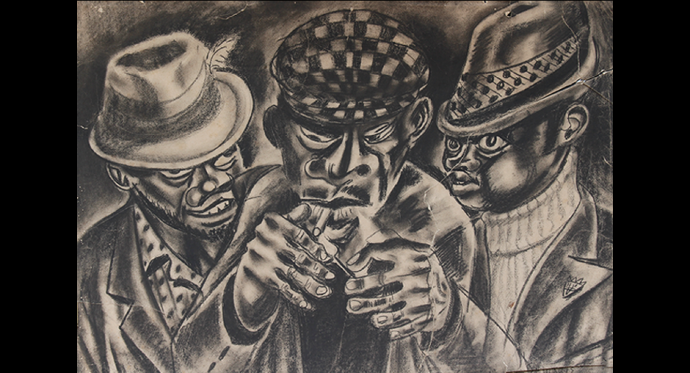 The Smokers (Carbon on Paper), Ato Delaquis, 1970
